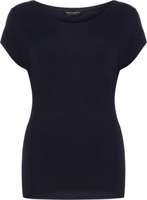 Navy Seam Front Tee - neckline: round neck; pattern: plain; style: t-shirt; predominant colour: navy; occasions: casual; length: standard; fibres: viscose/rayon - 100%; fit: body skimming; sleeve length: short sleeve; sleeve style: standard; pattern type: fabric; texture group: jersey - stretchy/drapey