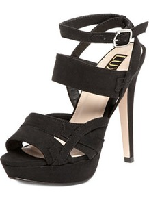 Luxe Black Multi Strap Sandals - predominant colour: black; occasions: evening, occasion; material: fabric; ankle detail: ankle strap; heel: platform; toe: open toe/peeptoe; style: strappy; finish: plain; pattern: plain; heel height: very high