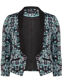Aqua Geo Print Jacket - style: single breasted tuxedo; collar: shawl/waterfall; predominant colour: black; secondary colour: black; occasions: evening, work, occasion; length: standard; fit: tailored/fitted; fibres: cotton - stretch; bust detail: contrast pattern/fabric/detail at bust; sleeve length: 3/4 length; sleeve style: standard; texture group: cotton feel fabrics; trends: tuxedo, modern geometrics; collar break: low/open; pattern type: fabric; pattern size: small &amp; busy; pattern: patterned/print