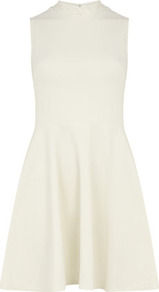 Ivory Mandarin Dress - pattern: plain; sleeve style: sleeveless; neckline: high neck; predominant colour: ivory; occasions: casual, evening, holiday; length: just above the knee; fit: fitted at waist &amp; bust; style: fit &amp; flare; fibres: polyester/polyamide - 100%; hip detail: soft pleats at hip/draping at hip/flared at hip; sleeve length: sleeveless; pattern type: fabric; texture group: jersey - stretchy/drapey