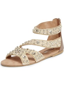 Nude Embellished Sandals - predominant colour: nude; occasions: casual, evening, holiday; material: leather; heel height: flat; embellishment: beading; ankle detail: ankle strap; heel: standard; toe: toe thongs; style: strappy; finish: plain; pattern: plain