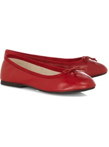 Red Leather Ballerina Pumps - predominant colour: true red; occasions: casual, work; material: faux leather; heel height: flat; toe: round toe; style: ballerinas / pumps; finish: plain; pattern: plain; embellishment: bow