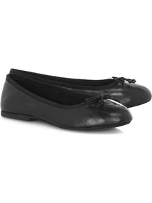 Black Leather Bow Pumps - predominant colour: black; occasions: casual, work; material: faux leather; heel height: flat; toe: round toe; style: ballerinas / pumps; finish: plain; pattern: plain; embellishment: bow