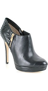 York Bootie - predominant colour: black; occasions: casual, evening, work; material: leather; heel height: high; embellishment: zips; heel: platform; toe: round toe; boot length: shoe boot; style: standard; finish: patent; pattern: animal print, plain