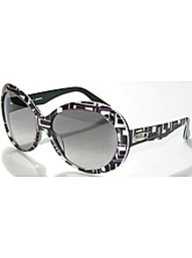Oversized Sunglasses - predominant colour: black; occasions: casual, holiday; style: round; size: large; material: plastic/rubber; finish: plain; pattern: patterned/print