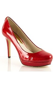Ionna Court - predominant colour: true red; occasions: casual, evening, work; material: leather; heel height: high; heel: platform; toe: round toe; style: courts; finish: patent; pattern: plain