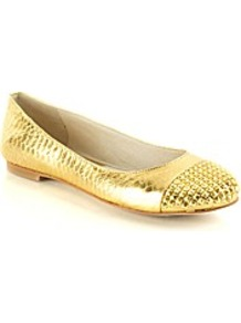 Aria Ballet Pump - predominant colour: gold; occasions: casual, evening, work, holiday; material: leather; heel height: flat; embellishment: studs; toe: round toe; style: ballerinas / pumps; trends: metallics; finish: metallic; pattern: plain