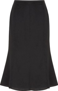 Black Textured Linen Skirt - length: below the knee; pattern: plain; fit: body skimming; hip detail: fitted at hip; waist: mid/regular rise; predominant colour: black; occasions: casual, evening, work; style: fit & flare; fibres: linen - 100%; pattern type: fabric; texture group: jersey - stretchy/drapey