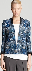 Jacket Mandala Wet Print - style: single breasted blazer; shoulder detail: shoulder pads; collar: shawl/waterfall; secondary colour: white; predominant colour: diva blue; occasions: casual, evening, occasion; length: standard; fit: tailored/fitted; sleeve length: 3/4 length; sleeve style: standard; texture group: structured shiny - satin/tafetta/silk etc.; trends: statement prints; collar break: low/open; pattern type: fabric; pattern size: big &amp; busy; pattern: patterned/print; fibres: viscose/rayon - mix