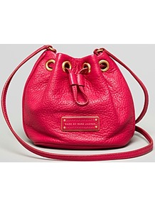 Pouch Too Hot To Handle Drawstring - predominant colour: hot pink; occasions: casual, evening, work; type of pattern: standard; style: onion bag; length: across body/long; size: mini; material: leather; pattern: plain; finish: plain