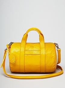 Satchel Watersnake Ascher Mini - predominant colour: yellow; occasions: casual, evening, work; type of pattern: standard; style: bowling; length: across body/long; size: standard; material: leather; pattern: animal print; trends: fluorescent; finish: patent
