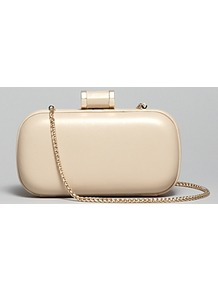 Clutch Oblong Minaudiere - predominant colour: champagne; occasions: evening, occasion; type of pattern: standard; style: clutch; length: hand carry; size: mini; material: leather; pattern: plain; trends: metallics; finish: metallic