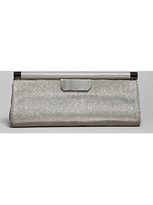 Clutch Dowel East West - predominant colour: silver; occasions: evening, occasion; type of pattern: standard; style: clutch; length: hand carry; size: small; material: fabric; pattern: plain; trends: metallics; finish: metallic; embellishment: chain/metal