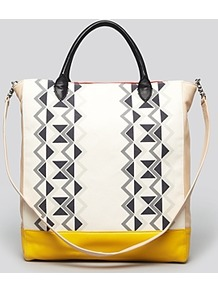 R29 For Tote Chicago - predominant colour: white; secondary colour: yellow; occasions: casual, work; type of pattern: standard; style: tote; length: handle; size: standard; material: fabric; trends: modern geometrics; finish: plain; pattern: patterned/print