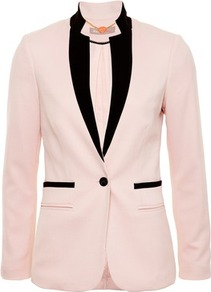 Pink Contrast Edge Spandex Blazer - pattern: plain; style: single breasted tuxedo; length: below the bottom; collar: standard lapel/rever collar; predominant colour: blush; occasions: casual, evening; fit: tailored/fitted; fibres: polyester/polyamide - mix; sleeve length: long sleeve; sleeve style: standard; collar break: medium; pattern type: fabric; pattern size: standard; texture group: woven light midweight