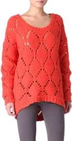 Open Knit Jumper - pattern: plain; length: below the bottom; style: standard; predominant colour: coral; occasions: casual; neckline: scoop; fibres: wool - mix; fit: loose; back detail: longer hem at back than at front; sleeve length: long sleeve; sleeve style: standard; texture group: knits/crochet; pattern type: knitted - big stitch; pattern size: standard