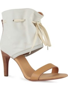 Effie Leather Ankle Sandals - predominant colour: white; occasions: casual, evening, work, occasion, holiday; material: leather; heel height: mid; embellishment: ribbon; ankle detail: ankle tie; heel: stiletto; toe: open toe/peeptoe; style: standard; finish: plain; pattern: colourblock