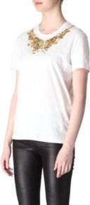 Embellished Neck T Shirt - neckline: round neck; pattern: plain; bust detail: added detail/embellishment at bust; style: t-shirt; predominant colour: white; occasions: casual, evening; length: standard; fibres: cotton - 100%; fit: body skimming; sleeve length: short sleeve; sleeve style: standard; texture group: cotton feel fabrics; pattern type: fabric; pattern size: standard; embellishment: beading