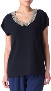 Acedia Silver Ball Top - neckline: v-neck; pattern: plain; length: below the bottom; predominant colour: navy; occasions: casual, evening, work; style: top; fibres: polyester/polyamide - 100%; fit: loose; shoulder detail: added shoulder detail; sleeve length: short sleeve; sleeve style: standard; texture group: crepes; pattern type: fabric; pattern size: standard; embellishment: beading