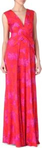 Silk Jersey Maxi Dress - neckline: low v-neck; sleeve style: sleeveless; style: maxi dress; waist detail: twist front waist detail/nipped in at waist on one side/soft pleats/draping/ruching/gathering waist detail; bust detail: ruching/gathering/draping/layers/pintuck pleats at bust; predominant colour: hot pink; length: floor length; fit: fitted at waist &amp; bust; fibres: silk - 100%; occasions: occasion; sleeve length: sleeveless; trends: statement prints; pattern type: fabric; pattern size: standard; pattern: patterned/print; texture group: jersey - stretchy/drapey