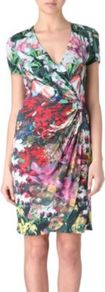 Printed Wrap Style Dress - style: faux wrap/wrap; neckline: low v-neck; waist detail: twist front waist detail/nipped in at waist on one side/soft pleats/draping/ruching/gathering waist detail; length: just above the knee; fit: body skimming; fibres: viscose/rayon - 100%; occasions: occasion; hip detail: soft pleats at hip/draping at hip/flared at hip; predominant colour: multicoloured; sleeve length: short sleeve; sleeve style: standard; trends: high impact florals; pattern type: fabric; pattern size: big & busy; pattern: florals; texture group: jersey - stretchy/drapey