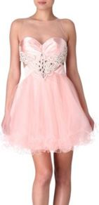 Rosie Tulle Prom Dress - length: mid thigh; pattern: plain; sleeve style: sleeveless; style: prom dress; bust detail: added detail/embellishment at bust; neckline: sweetheart; back detail: low cut/open back; predominant colour: blush; occasions: evening, occasion; fit: fitted at waist &amp; bust; fibres: polyester/polyamide - 100%; sleeve length: sleeveless; texture group: sheer fabrics/chiffon/organza etc.; pattern type: fabric; pattern size: standard; embellishment: embroidered