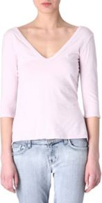 V Neck Top - neckline: low v-neck; pattern: plain; predominant colour: blush; occasions: casual; length: standard; style: top; fibres: cotton - mix; fit: body skimming; sleeve length: 3/4 length; sleeve style: standard; pattern type: fabric; pattern size: standard; texture group: jersey - stretchy/drapey