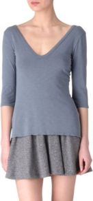 V Neck Top - neckline: low v-neck; pattern: plain; style: t-shirt; predominant colour: denim; occasions: casual; length: standard; fibres: cotton - 100%; fit: body skimming; sleeve length: 3/4 length; sleeve style: standard; pattern type: fabric; pattern size: standard; texture group: jersey - stretchy/drapey