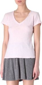 V Neck T Shirt - neckline: low v-neck; pattern: plain; style: t-shirt; predominant colour: blush; occasions: casual; length: standard; fibres: cotton - 100%; fit: body skimming; sleeve length: short sleeve; sleeve style: standard; pattern type: fabric; pattern size: standard; texture group: jersey - stretchy/drapey