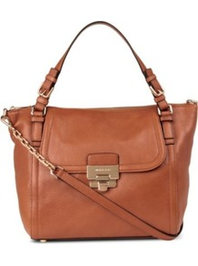 Deneuve Large Leather Shoulder Bag - predominant colour: tan; occasions: casual, work; type of pattern: standard; style: shoulder; length: shoulder (tucks under arm); size: oversized; material: leather; pattern: plain; finish: plain