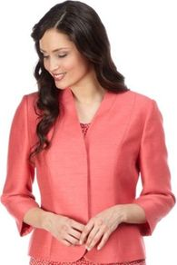Coral Jacket - pattern: plain; style: single breasted blazer; predominant colour: pink; occasions: evening, occasion; length: standard; fit: tailored/fitted; fibres: polyester/polyamide - 100%; sleeve length: 3/4 length; sleeve style: standard; texture group: structured shiny - satin/tafetta/silk etc.; collar break: medium; pattern type: fabric; pattern size: standard