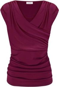 Ruched Cross Over Top - neckline: v-neck; pattern: plain; waist detail: fitted waist; style: wrap/faux wrap; predominant colour: hot pink; occasions: evening, work; length: standard; fibres: polyester/polyamide - stretch; fit: body skimming; shoulder detail: structured/bulky pleats/bulky detail at shoulder; sleeve length: sleeveless; sleeve style: standard; bust detail: tiers/frills/bulky drapes/pleats; pattern type: fabric; pattern size: standard; texture group: jersey - stretchy/drapey