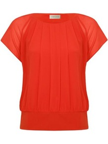 Petite Bubble Hem Blouse - sleeve style: capped; pattern: plain; style: blouse; predominant colour: bright orange; occasions: casual, evening, work, holiday; length: standard; fibres: polyester/polyamide - 100%; fit: straight cut; neckline: crew; sleeve length: short sleeve; texture group: sheer fabrics/chiffon/organza etc.; pattern type: fabric; pattern size: standard