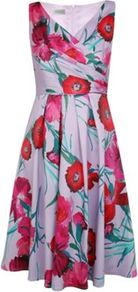 Petite Carnation Print Prom Dress - style: faux wrap/wrap; neckline: v-neck; fit: fitted at waist; sleeve style: sleeveless; waist detail: fitted waist; predominant colour: lilac; occasions: evening, occasion; length: just above the knee; fibres: polyester/polyamide - stretch; hip detail: structured pleats at hip; sleeve length: sleeveless; texture group: sheer fabrics/chiffon/organza etc.; bust detail: tiers/frills/bulky drapes/pleats; pattern type: fabric; pattern size: small & busy; pattern: florals