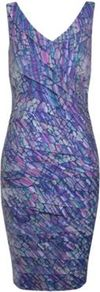 Printed Shutter Dress - style: shift; neckline: low v-neck; fit: tailored/fitted; sleeve style: sleeveless; waist detail: fitted waist; occasions: evening, occasion; length: on the knee; predominant colour: multicoloured; sleeve length: sleeveless; texture group: structured shiny - satin/tafetta/silk etc.; pattern type: fabric; pattern size: standard; pattern: patterned/print; fibres: viscose/rayon - mix