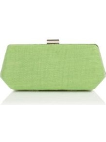 Apple Crinkle Clutch - predominant colour: pistachio; occasions: evening, occasion; type of pattern: standard; style: clutch; length: hand carry; size: small; material: fabric; pattern: plain; finish: plain