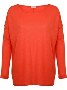 Long Sleeve Square Tee - neckline: round neck; pattern: plain; length: below the bottom; style: t-shirt; predominant colour: bright orange; occasions: casual; fibres: viscose/rayon - 100%; fit: loose; sleeve length: long sleeve; sleeve style: standard; pattern type: fabric; pattern size: standard; texture group: jersey - stretchy/drapey