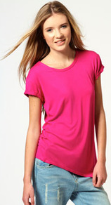 Caroline Asymetric Hem Basic Top - neckline: round neck; pattern: plain; style: t-shirt; predominant colour: hot pink; occasions: casual; length: standard; fibres: viscose/rayon - stretch; fit: loose; sleeve length: short sleeve; sleeve style: standard; pattern type: fabric; pattern size: standard; texture group: jersey - stretchy/drapey