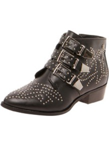 Lottie Buckle Detail Studwork Ankle Boot - predominant colour: black; occasions: casual; material: faux leather; heel height: mid; embellishment: studs; heel: block; toe: round toe; boot length: ankle boot; style: cowboy; finish: plain; pattern: plain