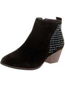 Roxie Suedette Diamante Detail Ankle Boot - predominant colour: black; occasions: casual; material: fabric; heel height: mid; embellishment: studs; heel: block; toe: round toe; boot length: ankle boot; style: cowboy; finish: plain; pattern: plain