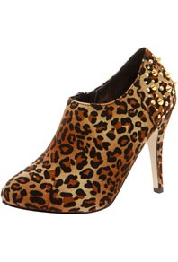 Aria Leopard Studded Back Midi Shoe Boot - predominant colour: tan; occasions: evening; material: fabric; embellishment: studs; heel: stiletto; toe: round toe; boot length: shoe boot; style: standard; finish: plain; pattern: animal print; heel height: very high