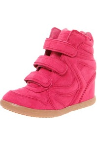 Benita Fuchsia Hi Top Wedges - predominant colour: hot pink; occasions: casual; material: fabric; heel height: high; heel: wedge; toe: round toe; boot length: ankle boot; style: high top; trends: sporty redux, fluorescent; finish: fluorescent; pattern: plain