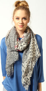 Tilly Floral Patchwork Scarf - secondary colour: ivory; predominant colour: black; occasions: casual, evening, work, holiday; type of pattern: heavy; style: regular; size: standard; material: fabric; pattern: florals
