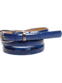 Amelia Skinny Snake Belt - predominant colour: royal blue; occasions: casual, evening, work, occasion, holiday; type of pattern: small; style: classic; size: skinny; worn on: hips; material: faux leather; pattern: animal print; finish: patent
