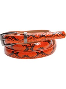 Amelia Skinny Snake Belt - predominant colour: bright orange; occasions: casual, evening, work, occasion, holiday; type of pattern: small; style: classic; size: skinny; worn on: hips; material: faux leather; pattern: animal print; finish: patent