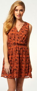 Kylie Aztec Print Self Fabric Belt Wrap Dress - style: faux wrap/wrap; length: mid thigh; neckline: v-neck; fit: fitted at waist; sleeve style: sleeveless; waist detail: fitted waist; predominant colour: bright orange; occasions: casual, evening; fibres: polyester/polyamide - 100%; sleeve length: sleeveless; texture group: sheer fabrics/chiffon/organza etc.; pattern type: fabric; pattern size: small & busy; pattern: patterned/print