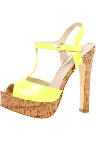 Natalia Cork Block Platform T Bar Neon Heels - predominant colour: yellow; occasions: casual, evening, occasion, holiday; material: faux leather; heel height: high; embellishment: buckles; ankle detail: ankle strap; heel: platform; toe: open toe/peeptoe; style: strappy; trends: fluorescent; finish: fluorescent; pattern: plain