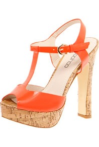 Natalia Cork Block Platform T Bar Neon Heel - predominant colour: bright orange; occasions: casual, evening; material: faux leather; ankle detail: ankle strap; heel: platform; toe: open toe/peeptoe; style: standard; trends: fluorescent; finish: fluorescent; pattern: plain; heel height: very high