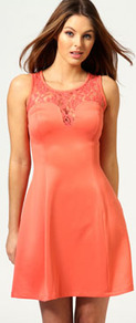 Leela Metallic Lace Neckline Lantern Dress - neckline: round neck; pattern: plain; sleeve style: sleeveless; waist detail: fitted waist; predominant colour: coral; occasions: casual, evening, occasion; length: just above the knee; fit: fitted at waist &amp; bust; style: fit &amp; flare; fibres: polyester/polyamide - stretch; hip detail: soft pleats at hip/draping at hip/flared at hip; bust detail: contrast pattern/fabric/detail at bust; sleeve length: sleeveless; pattern type: fabric; pattern size: standard; texture group: jersey - stretchy/drapey; embellishment: embroidered