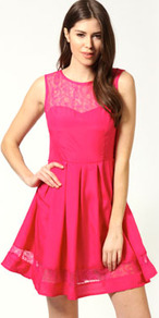 Arina Lace Sweetheart Skater Dress - length: mid thigh; neckline: round neck; pattern: plain; sleeve style: sleeveless; waist detail: twist front waist detail/nipped in at waist on one side/soft pleats/draping/ruching/gathering waist detail; predominant colour: hot pink; occasions: evening, occasion; fit: fitted at waist &amp; bust; style: fit &amp; flare; fibres: polyester/polyamide - 100%; hip detail: sculpting darts/pleats/seams at hip; bust detail: contrast pattern/fabric/detail at bust; shoulder detail: added shoulder detail; sleeve length: sleeveless; trends: fluorescent; pattern type: fabric; pattern size: standard; texture group: jersey - stretchy/drapey; embellishment: embroidered